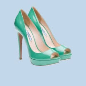 Mint Green Prada Peep Toe Heels